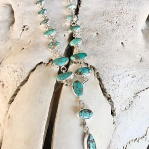 Sterling Silver Royston Turquoise Lariat Set